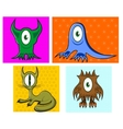 cartoon funny one eyed colorful animals vector image