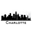 charlotte city skyline black and white silhouette vector image vector image