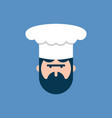 chef face logo cook in cap symbol vector image