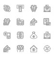 collection financial outline icons vector image