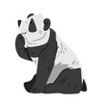 cute panda bear with thoughtful face side view of vector image vector image