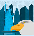 cute statue of liberty with eagle in new york city vector image vector image