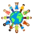 Different children standing around earth planet vector image vector image
