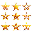 different golden stars icons isolated set vector image vector image