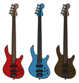 Electric fretless bass guitars vector image vector image