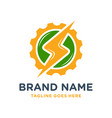 electric gear circle logo design vector image vector image