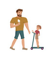 father and son walking at the park vector image vector image