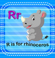 flashcard letter r is for rhino vector image vector image