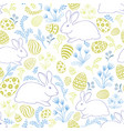 floral holiday pattern easter bunny eggs seamless vector image vector image