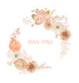 floral wedding frame boho dry flowers watercolor vector image