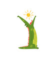 friendly crocodile swallowing the sun funny vector image