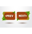 game interface buttons preview and next on wooden vector image
