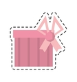 gift box pink ribbon surprise stripes line dotted vector image