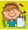 girl cartoon child notebook vector image vector image