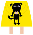 girl holding black dog cute cartoon funny baby vector image