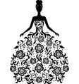 girl in a dress with floral ornament silhouette vector image vector image