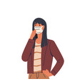 girl wearing face mask virus prevention vector image vector image