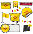 Glossy icons with New Mexican flag vector image vector image