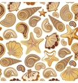 Graphic pattern with seashells sea stars Hand vector image