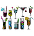 hand drawn cocktails vintage glasses with liquors vector image vector image