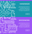 handmade woodwork posters in linear style vector image vector image