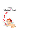 happy velrntines day template with cartoon baby vector image