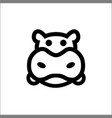 head hippo line icon animal outline logo vector image vector image