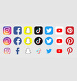 instagram facebook snapchat tiktok twitter vector image vector image