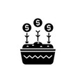 investment growth black icon sign on vector image