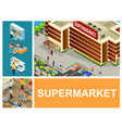 isometric shopping center composition vector image