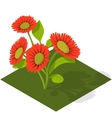 Isometric Tile Flowers vector image vector image
