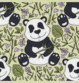 panda bear with bamboo vector image