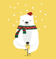 polar bear with santa hat riding a bike vector image
