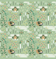 pond animals and plant life seamless pattern vector image