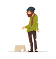 poor man in torn clothes begging money vector image vector image