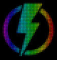 rainbow colored dot electricity icon vector image vector image