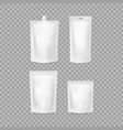 realistic detailed 3d various white blank doypack vector image vector image