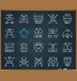 robot chalk draw grunge line icons set vector image vector image
