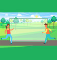 runner male female in country vector image