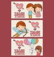 set of banner happy valentines heart arrow love vector image vector image