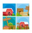 set of farm fresh cartoons vector image
