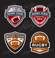 set rugand football logo template vector image