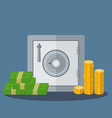 small safe with money in coins and notes vector image
