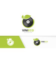 vinyl and leaf logo combination record and vector image vector image