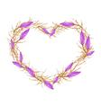 Violet Equiphyllum Flowers in Heart Shape Frame vector image vector image
