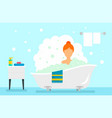 woman take bath concept background flat style vector image
