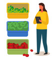 woman with tablet counts harvest vegetables vector image
