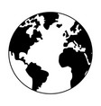 world map earth globe cartoon in black and white vector image vector image