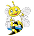 little bee pose with thumb up vector image