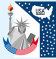 beauty statue of liberty with amercan ribbon vector image vector image